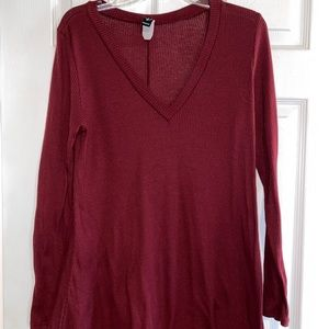 Burgundy long sleeve shirt-dress